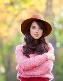 Girl in the autumn park. Royalty Free Stock Photos