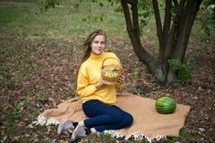 Girl autumn picnic royalty free stock photo