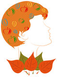 The girl - Autumn. Portrait of a girl with fruit in red hair, symbolizing autumn Stock Photography
