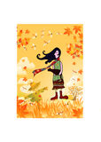 Girl with autumn view background. A girl holding a cat with autumn view background Royalty Free Stock Images
