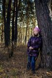 The girl in an autumn wood Royalty Free Stock Images
