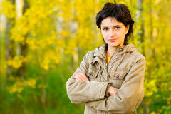 Girl in autumn wood Royalty Free Stock Photos