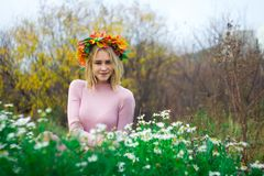 A girl in an autumn wreath. And a pink dress sits in the flowers of daisies. She smiles at the camera royalty free stock photos