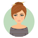 Girl avatar. Cartoon.Stock vector Royalty Free Stock Image