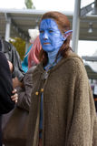 Girl in Avatar cosplay. Young girl in her blue Avatar outfit at cosplay festival in Autumn Mondocon on 17th of October, 2015, Budapest, Hungary stock photo