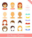 Girl avatar creator and female avatars. Vector set vector illustration