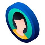 Girl avatar icon, isometric style royalty free illustration