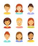 Girl avatar icons and female avatars set Royalty Free Stock Photo