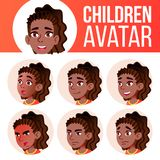 Girl Avatar Set Kid Vector. Black. Afro American. High School. Face Emotions. Facial, People. Active, Joy. Cartoon Head. Girl Avatar Set Kid Vector. Black. Afro stock illustration