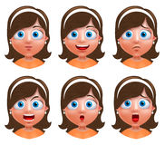 Girl avatar vector character. Set of portrait of young girl face Stock Photography