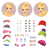 Girl Avatars Constructor And Accessories Stock Photography
