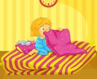 Girl awake. Illustration of recently woken girl Royalty Free Stock Photography