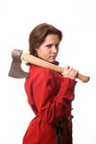 Girl with an ax on her shoulder Stock Image