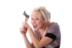Girl with axe Royalty Free Stock Photos