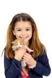 Girl with baby cat Royalty Free Stock Photo