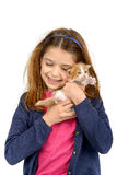 Girl with baby cat Royalty Free Stock Images