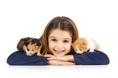 Girl with baby cat Stock Photos