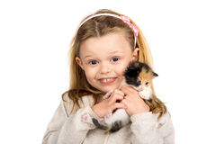 Girl with baby cat Stock Photo