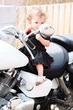Girl Baby Motorcyle Rider Royalty Free Stock Photography