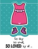 Girl baby Shower card / Pink dress and booties. On dotted background / Its a girl design card stock illustration