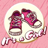 Girl baby shower congratulations vector postcard. Baby announcement in pink. It`s a girl with children shoes in circle. stock illustration