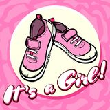 Girl baby shower congratulations vector postcard. Baby announcement in pink. It`s a girl with children shoes in circle. Texture royalty free illustration