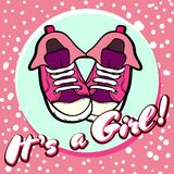 Girl baby shower congratulations vector postcard. Baby announcement in pink. It`s a girl with children shoes in circle. royalty free illustration