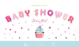 Girl baby shower cute template. Party invitation card with balloon letters, cupcake and confetti. Pastel pink and blue Royalty Free Stock Photos