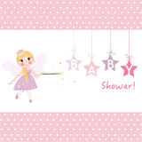 Girl baby shower with fairy tale greeting card vector Royalty Free Stock Images