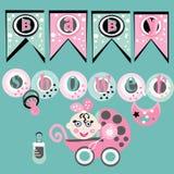 Girl baby shower. Illustration of girl baby shower Royalty Free Stock Images