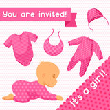 It is a girl. Baby shower invitation Stock Image