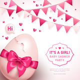 Girl baby shower with pink bow and cracked egg Stock Photography