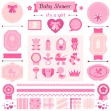 Girl baby shower set of elements for design Royalty Free Stock Photos