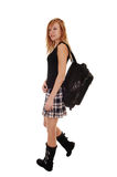Girl with back bag. Royalty Free Stock Photos
