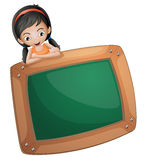 A girl at the back of a chalkboard vector illustration