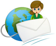 A girl at the back of the envelope near the globe. Illustration of a girl at the back of the envelope near the globe on a white background Stock Photography