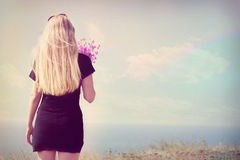 Girl back, instagram. Girl back to the sea, instagram royalty free stock image
