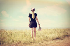 Girl back, instagram. Girl back to the sea, instagram royalty free stock photography