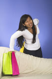 Girl with back pain royalty free stock images