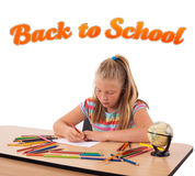 Girl with back to school theme isolated on white Stock Photography
