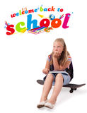 Girl with back to school theme isolated on white Royalty Free Stock Image