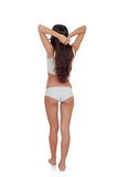 Girl back in white underwear with long hair Stock Image