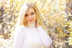 Girl on a background of autumn Stock Photography