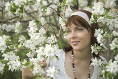 Girl on a background of a blossoming apple Royalty Free Stock Images