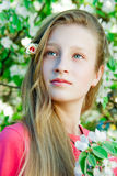 Girl on the background of a blossoming tree Stock Image