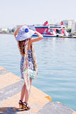 The girl on the background of the ocean liner Stock Photography