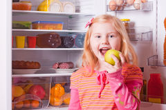 Girl  on background refrigerator Royalty Free Stock Images