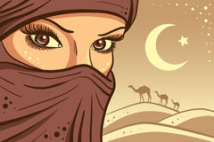 Girl on a background of sand dunes. Desert and camels Stock Images