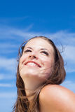 Girl on background of sky Stock Images