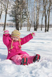 Girl on background snow Stock Photography